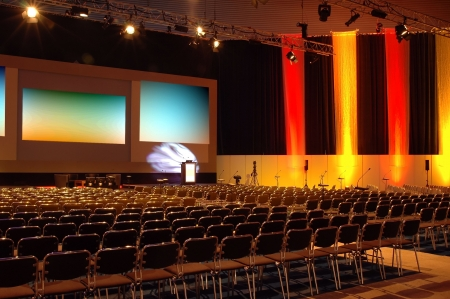 education event: Empty conference room ready for audience