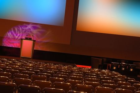 auditorium: empty conference room ready for audience