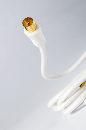 audiovisual: white coaxial cable isolated on gradient background