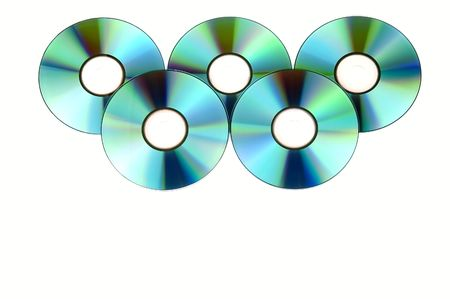 dvdr: bunch of cds, isolated on white background Stock Photo