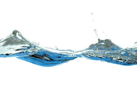wave and splashes of water isolated on white background