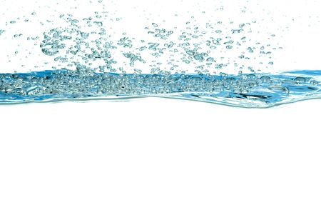 blue water bubbles isolated on white background