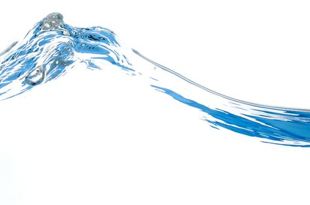 blue water wave isolated on white background Stock Photo