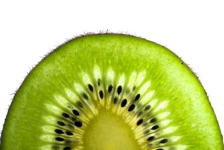lushes green slice of a kiwi isolated on white background