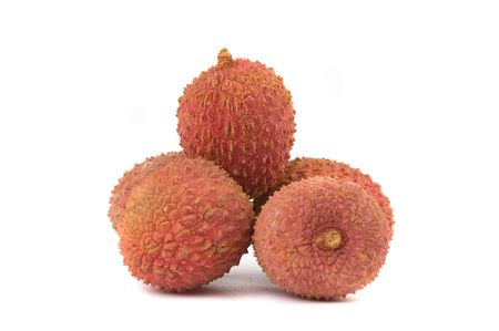 leechee: some litchis isolated on white background Stock Photo