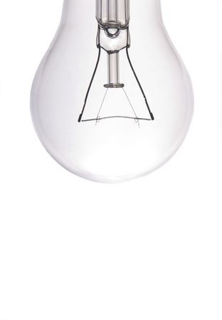close-up of a lightbulb isolated over white Stock Photo