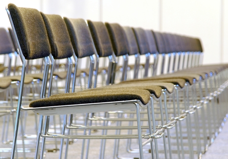 line of chairs with shallow dof