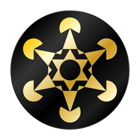 metatron's cube, sacred geometry, gold and black