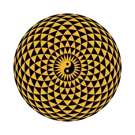 torus with yin yang, sacred geometry Illustration