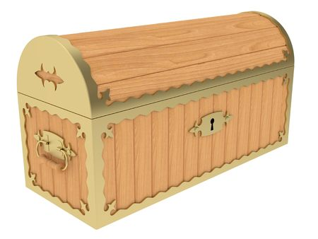 Locked wooden chest isolated on white background Stock Photo - 8119970