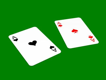 lied: Black ace of hearts and red ace of spades lied on green background Stock Photo