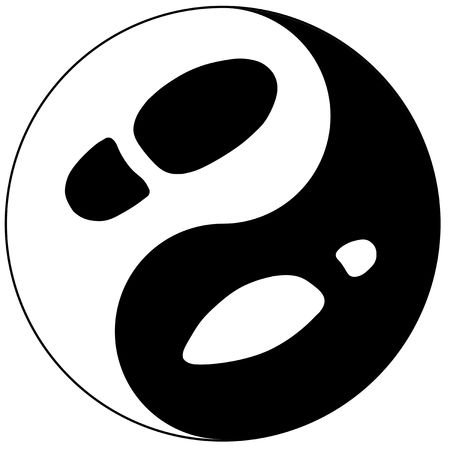 shoe print: Womens and mans footprint represented as yin yang sign