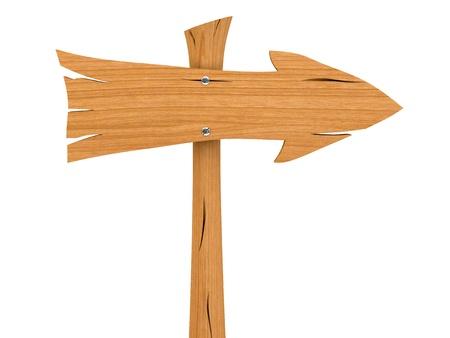 arrow wood: Direcci�n de madera en blanco firmar aislado sobre fondo blanco