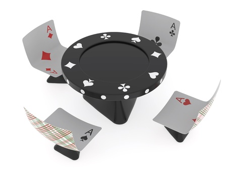 Conventionalized table as chip and chairs as cards for casino (rendered with soft shadows on white background) photo