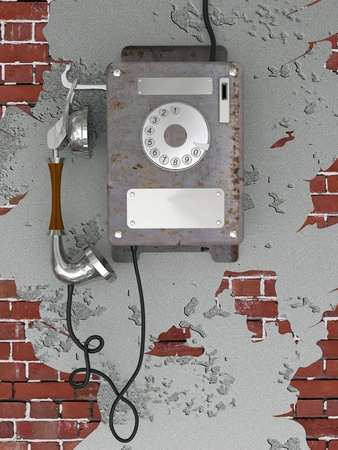 mangy: Old style rusty phone suspended on the mangy wall