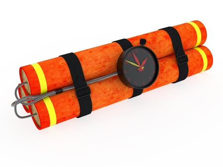 Dynamite with clockwork rendered on white background with soft shadows photo