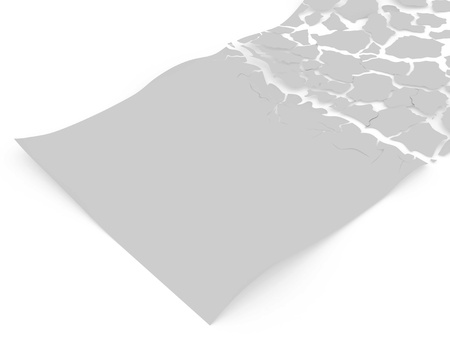 Blank sheet of paper break to peaces with uneven edges rendered on white background with soft shadows desposed by diagonal photo