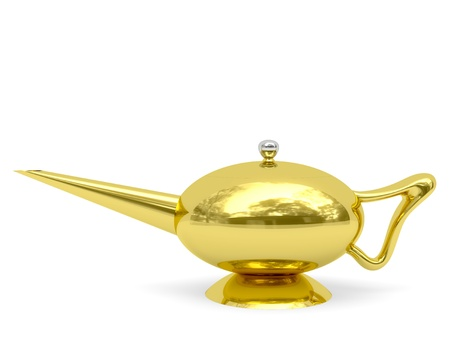 disposed: Golden Aladdin�s lamp disposed horizontally rendered with soft shadows on white background
