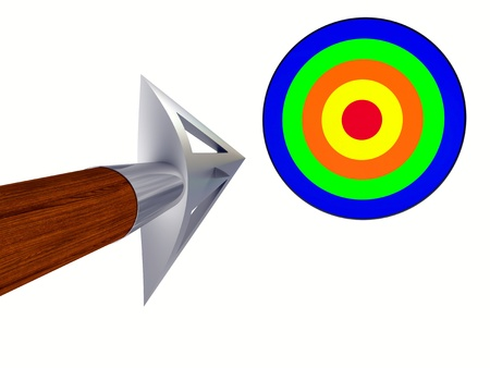 disposed: Metallic arrow-head flying to the target (disposed by diagonal)