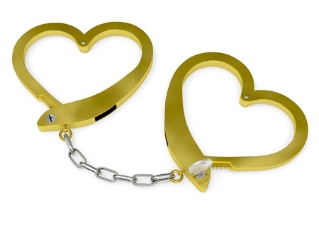 Handcuffs of love rendered with soft shadows on white background (conceptual idea of marriage) photo