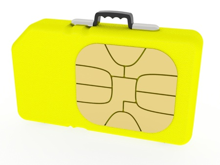 sim: Yellow SIM card represented as leather case (roaming concept). Rendered on white background with soft shadows.