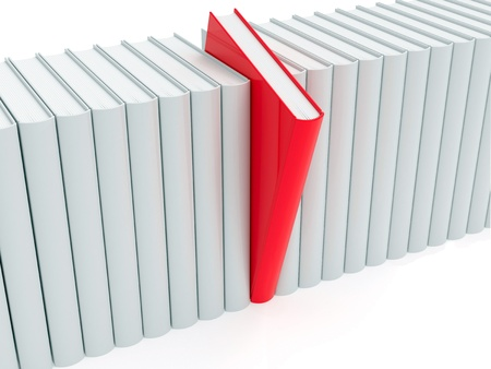 Red book within white ones rendered with soft shadows on white background photo