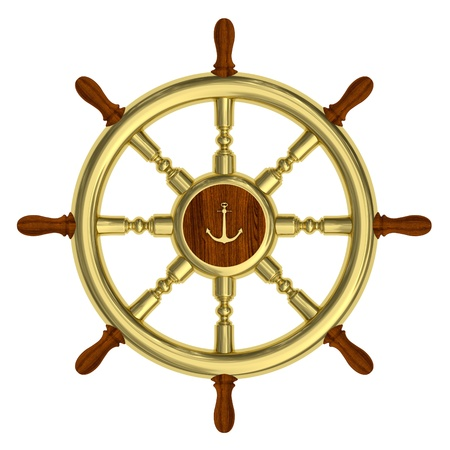 steering: Render of golden nautical steering wheel isolated on white background