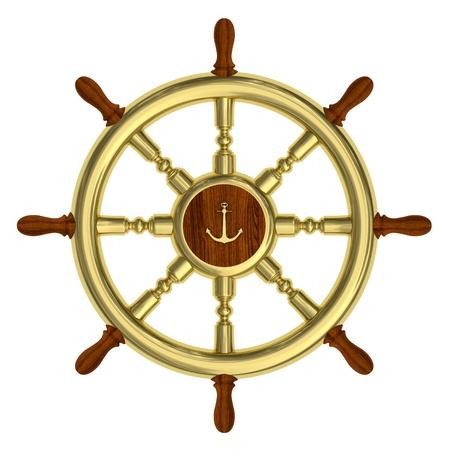 rudder: Render of golden nautical steering wheel isolated on white background