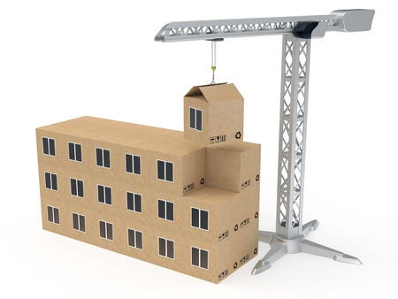 Tower crane building a house from cardboard boxes rendered with soft shadows on white background photo