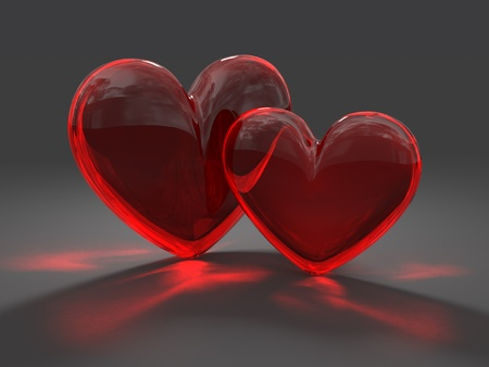 caustic: Two hearts from red glass with caustic effect rendered at dimmed light