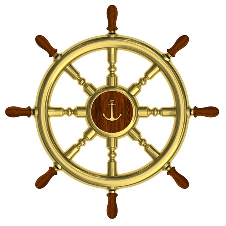 Render of golden nautical steering wheel isolated on white background photo