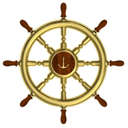 ruder: Rendern von goldenen nautische Lenkrad isoliert auf wei�em Hintergrund