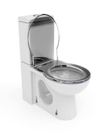 Enamel WC rendered with soft shadows on white background photo