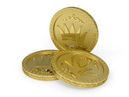 Composition of three golden coins with flowery patterns rendered with soft shadows on white background photo