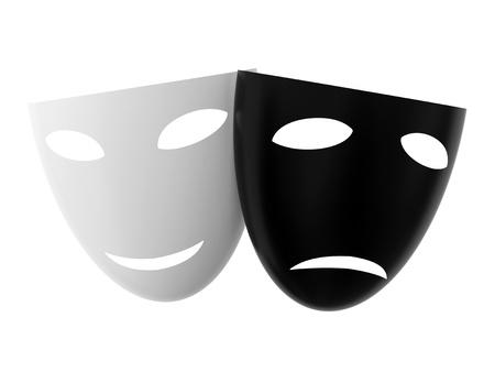 sorrowful: White joyful mask and black sorrowful mask isolated on white background Stock Photo