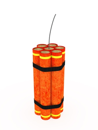 detonation: Vertically desposed dynamite rendered on white background with soft shadows