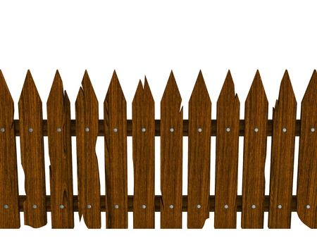 disposed: Wooden fence composed from crashed brown boards isolated on white background (disposed horizontally)