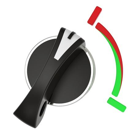 palanca: Interruptor giratorio dispuesto en diagonal aislado sobre fondo blanco