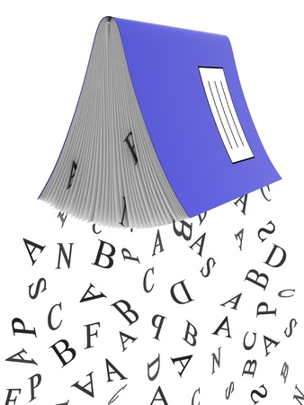 assessments: Black assessments falling from school notebook with blue cover Stock Photo