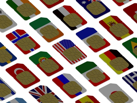 3D SIM cards represented as flags of different countries photo