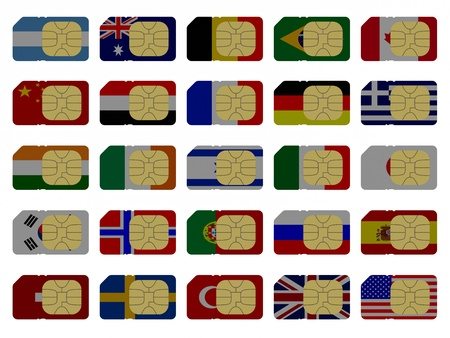 2D SIM cards represented as flags of different countries photo