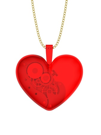 Glass pendant in the shape of heart with clockwork photo