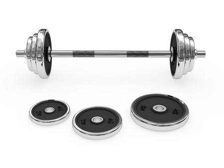 weightlifting equipment: Weight barbell rendered with soft shadows on white background disposed horizontally