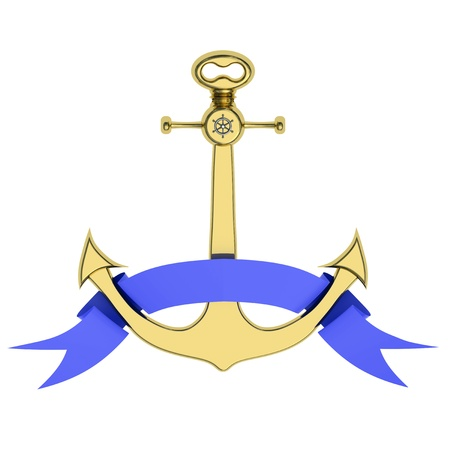 Render of golden anchor with blue ribbon isolated on white background photo