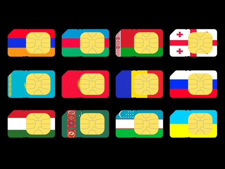 represented: SIM cards represented as flags of countries from CIS