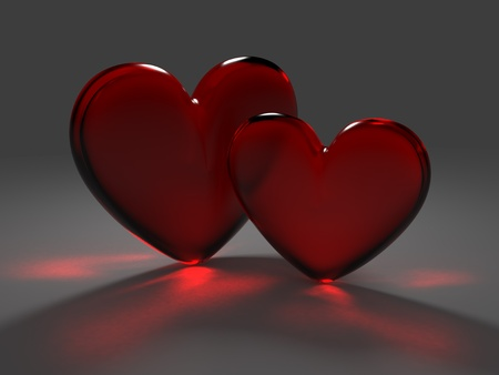 Two hearts from red frosted glass with caustic effect rendered at dimmed light photo