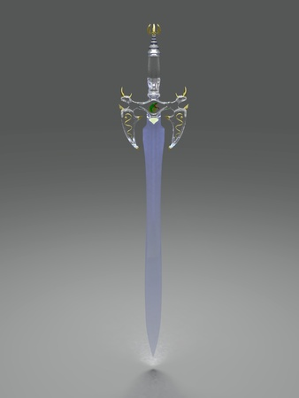 medieval sword: Ancient crystal sword rendered at dimmed light Stock Photo