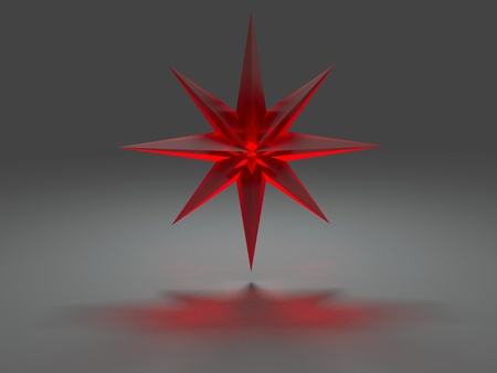 the caustic: Eight-pointed star from red glass with caustic effect rendered at dimmed light Stock Photo