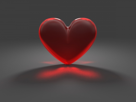 Heart from red frosted glass with caustic effect rendered at dimmed light Stock Photo - 13649752