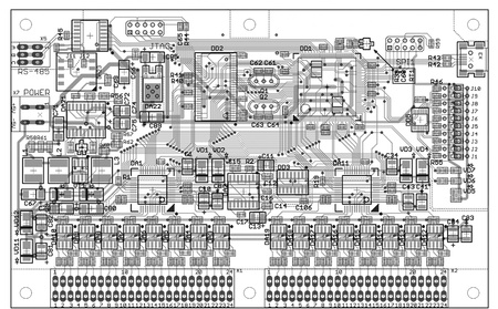 topology: Monochrome topology of a two sided printed circuit board Stock Photo